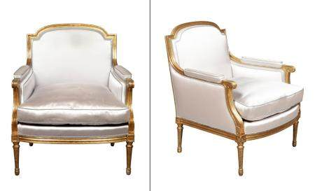 Pair of Louis XVI Style Upholstered Giltwood Bergeres
