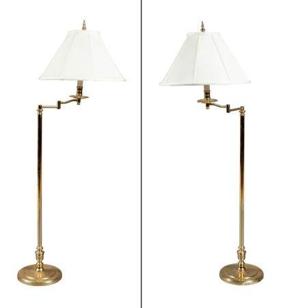 Pair of Brass Adjustable Floor Lamps