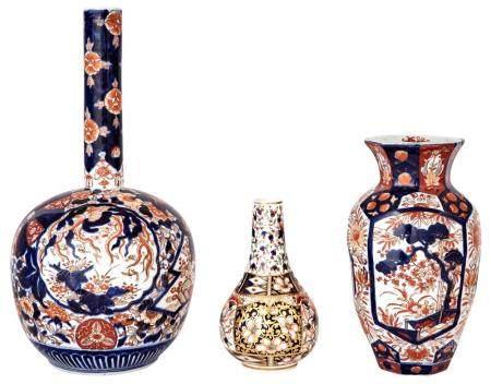Three Imari Porcelain Vases