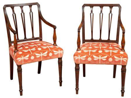 Pair of George III Upholstered Mahogany Open Armchairs Late