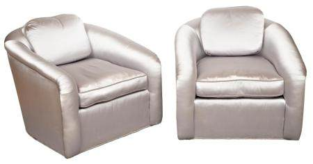 Pair of Art Deco Style Silk Upholstered Club Chairs Modern H