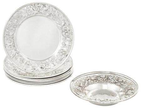 Set of Eight S. Kirk & Son Sterling Silver Bread Plates