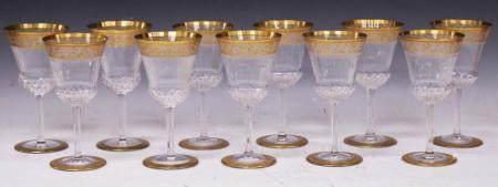 FINE ETCHED GILT GOLD WINE GLASSES, (3) ST. LOUIS