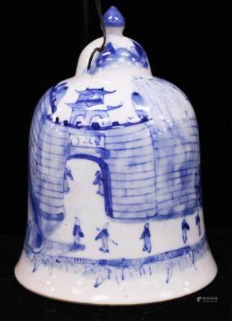 VINTAGE CHINESE BLUE & WHITE PORCELAIN BELL