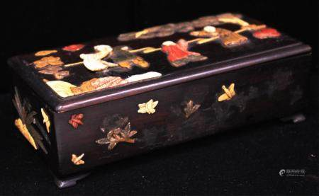 CHINESE VINTAGE CARVED BOX W/ APPLIED STONES