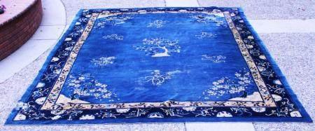 VINTAGE CHINESE BLUE & WHITE ROOM SIZE CARPET
