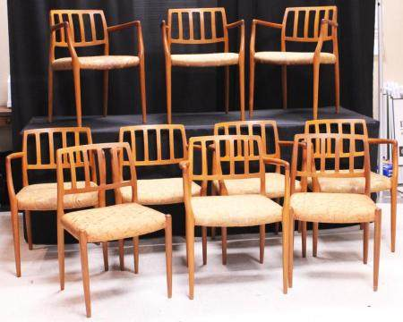 MOELLER,(10) MID-CENTURY DINING CHAIRS