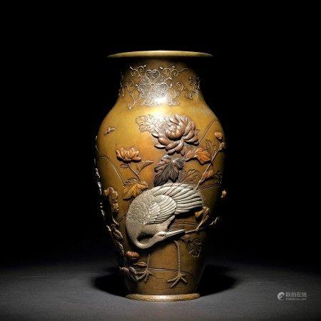 明治時期 金工銀象嵌高浮雕仙鶴牡丹紋花瓶