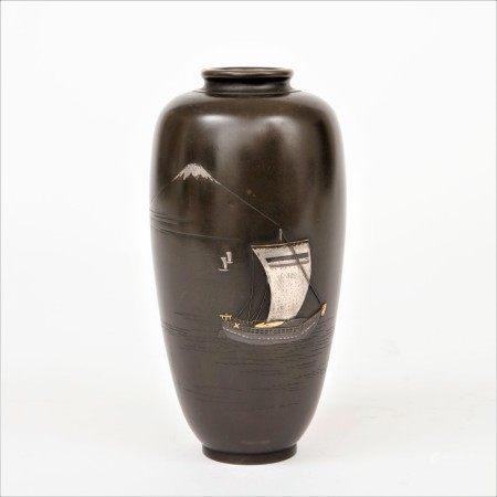 明治時期 金工象嵌富士帆船圖花瓶
