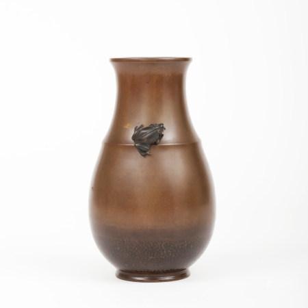 明治時期 五郎三郎作精工青蛙竹節形花瓶