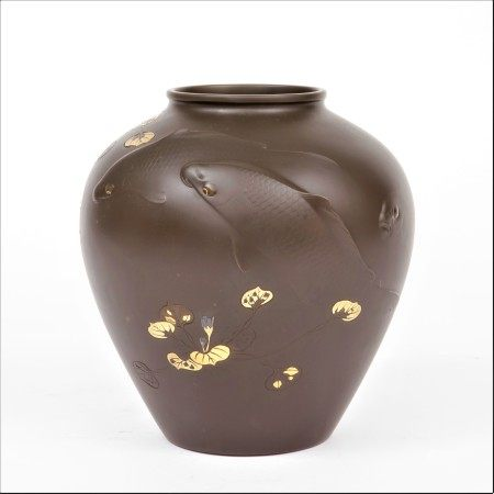 明治時期 龍澤文男刻金工象嵌浮雕鯉魚紋花瓶