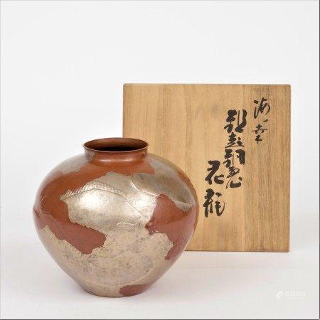 明治時期 玉川堂製 打出魚紋花瓶
