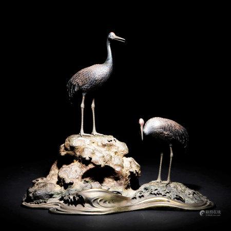 明治時期 蓬萊山銀製仙鶴置物
