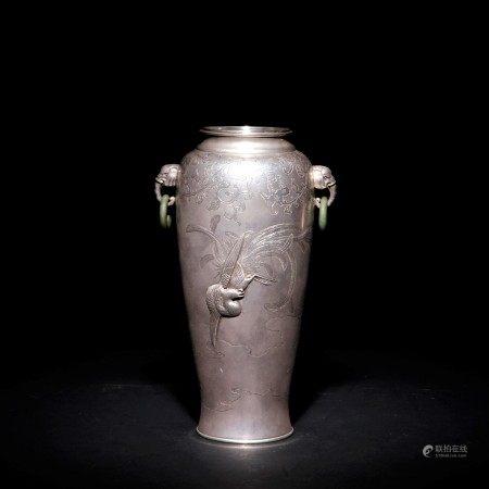 明治時期 純銀鳳凰紋碧玉遊環花瓶