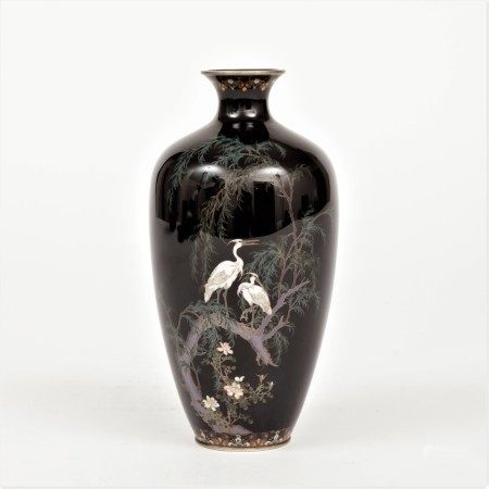明治時期 鷺紋掐銀絲七寶花瓶