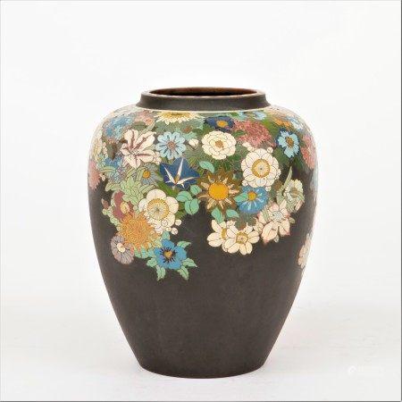 明治時期 井上製 鐵地七寶百花圖花瓶