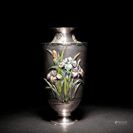 明治時期 真州作銀製嵌七寶蘭紋花瓶