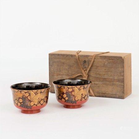 明治時期 蒔絵蝶紋碗