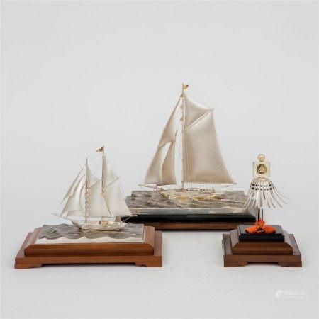 銀製帆船置物三點一套