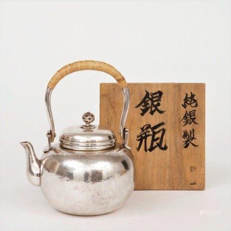 明治時期 蒔純銀槌目紋湯沸