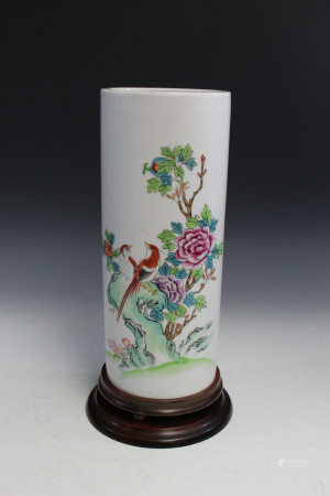 Chinese Porcelain Hat Vase with Wood Stand