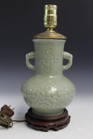 Chinese Celadon Glaze Porcelain Vase Lamp.
