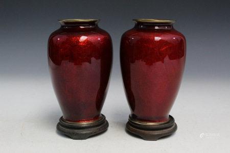 Pair of Japanese Yamamoto Cloisonne Vases