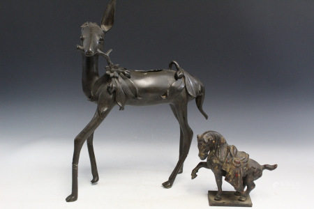 Two Chinese Metal Animal Statues.