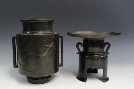Two Japanese Metal Flower Vases