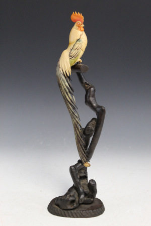 Japanese Carved Rooster on Wood Stand