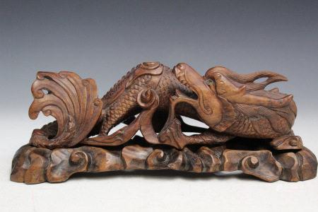 Chinese Carved Hardwood Brush Holder