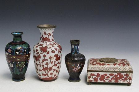 Four Asian Cloisonne Items