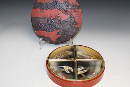 Japanese Porcelain Set Fruit Dishes in Lacquered Box.