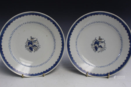 Pair of Chinese Armorial Porcelain Dishes.