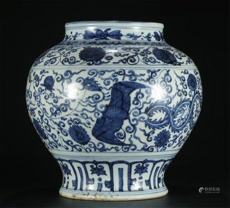 A CHINESE BLUE AND WHITE BAT AND FLOWER PATTERN JAR