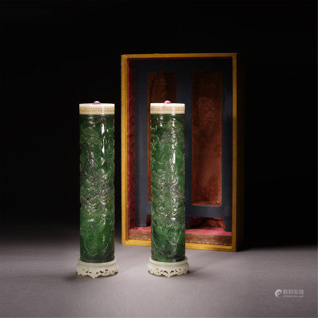 A PAIR OF CHINESE CARVED FIGURE STORY SPINACH JADE ROUND INCENSE