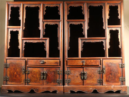A PAIR OF CHINESE HARDWOOD DISPLAY CABINETS