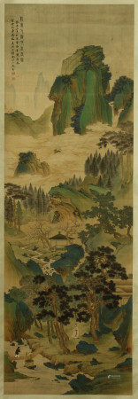 A CHINESE VERTICAL SCROLL OF PAINTING MOUNTAINS LANDSCAPE BY JIN CHENG