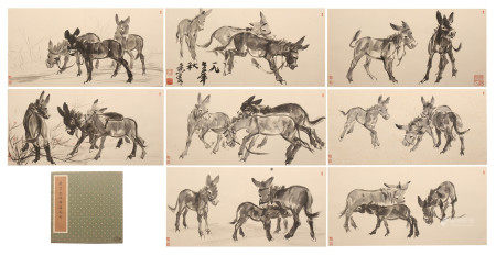 CHINESE ALBUM OF PAINTING GROUPS DONKEYS BY HUANG ZHOU