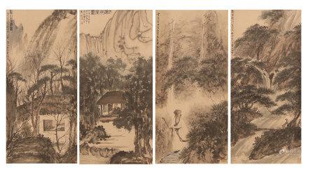 FOUR HANGING PAINTING SCROLLS OF SCHOLAR'S IN MOUNTIAN BY FU BAOSHI