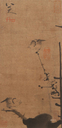 A CHINESE VERTICAL SCROLL OF PAINTING BIRD STANDING ON BRANCHES BY BADASHANREN