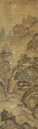 A CHINESE SCROLL OF PAINTING MOUNTAINS LANDSCAPE BY WANG YUANQI