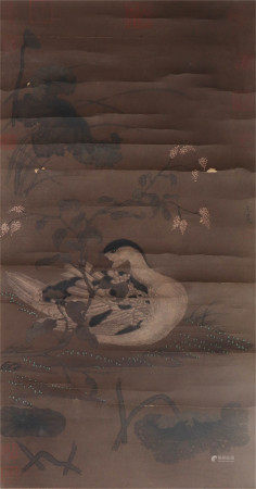 A CHINESE PAPER SCROLL OF PAINTING GOOSE BY WANG MIAN
