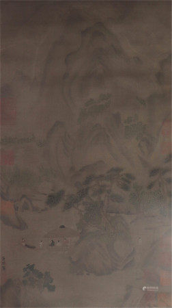 A CHINESE SILK SCROLL OF PAINTING FIGUSE STORY BY XIAO ZHAOSHAN