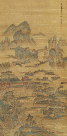 A CHINESE SCROLL OF PAINTING PALACE IN MOUNTAINS LANDSCAPE BY YUAN JIANG