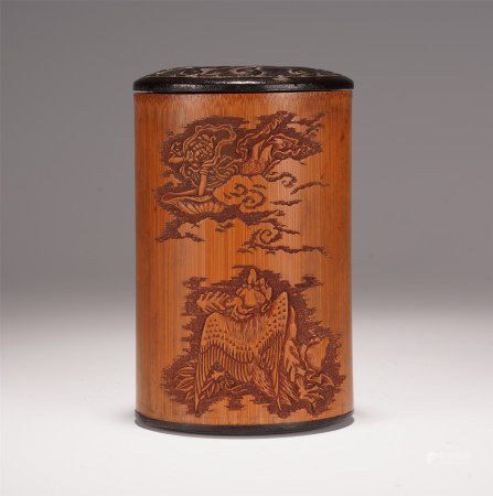 A CHINESE OLD BAMBOO CARVING FIGURE STURY INLAID ROSEWOOD BRUSH POT