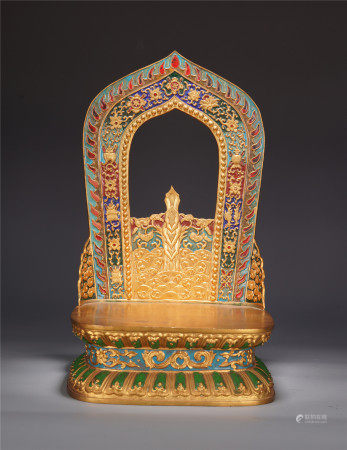 A CHINESE GILT BRONZE CARVED EIGHT TREASURES BUDDHA SEAT