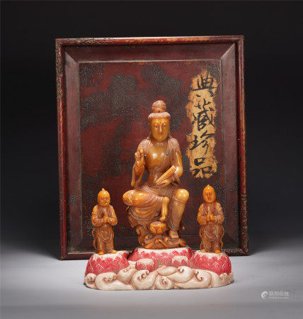 A CHINESE TIANHUANG CHILDREN-SENDING GUANYIN SEATED STATUE