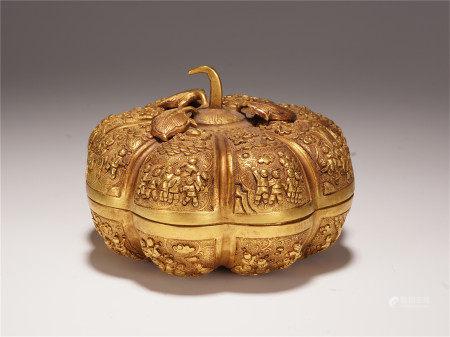 A CHINESE GILT BRONZE MELON SHAPED LIDDED BOX
