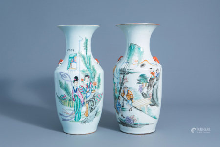 Two Chinese famille rose vases with figures in a